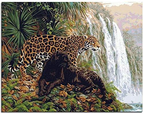ELEVENFF DIY Ölgemälde Zeichnung mit Pinseln Malen Nach Zahlen Kit für Erwachsene Dekoration Leopard Tier Wasserfall 40X50Cm/15,8X19.7Inch