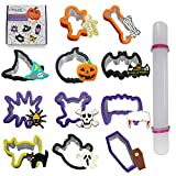 Tifeson 12 Pack Halloween Cookie Cutters Set, 11 PCS Stainless Steel Sandwich Cutter Molds with Comfort Grip, 1PC Rolling Pin for Halloween Party (Include Pumpkin, Witch Hat, Bat, Ghost Mold)