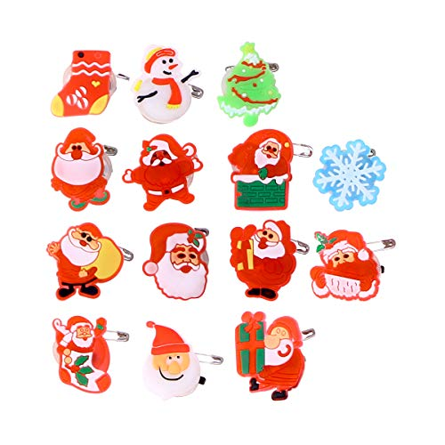 TOYMYTOY 50PCS Christmas Flashing Brooch Pins LED Brooch Kids Party Supplies Flashing Light Brooch (Style Mixed)