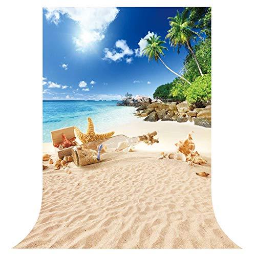 Allenjoy 5x7ft Summer Tropical Beach Backdrop Seaside Hawaii Island Palm Tree Background Aloha Luau Birthday Baby Party Supplies Banner Decor Photobooth Cake Table Portrait Prop