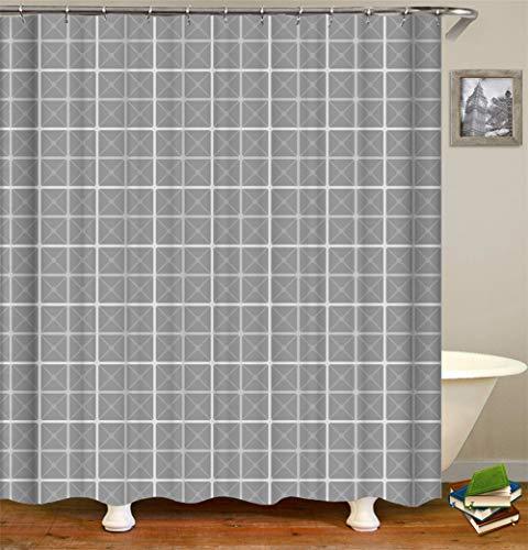 SLN Grauer Hintergr&. Weiße Quadrate. Duschvorhang. 180 X 180 cm. 12 C-Förmige Haken. Einfach Zu Säubern. Wasserdicht. Nicht Verblassen. Haus Dekoration.