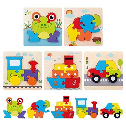 DY_Jin Juego de 5 Rompecabezas de Madera, Juguete Montessori de Color de Forma de vehículo y Animal, Juego de Bloques educativos preescolares de Aprendizaje temprano para niños de 2 3 4 5 años