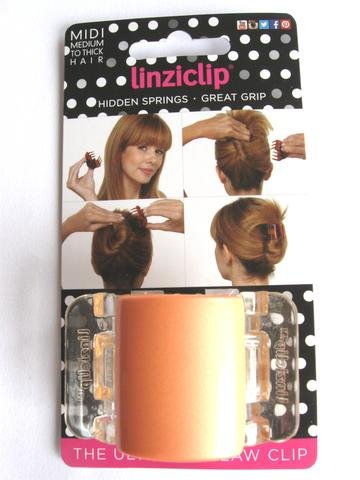 LinziClip MIDI The Ultimate Claw Clip Pearlised Peach/Clear Wings