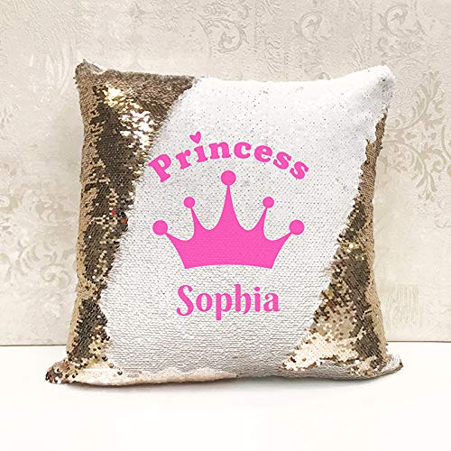 Genie Wholesale Luxury Personalised Reversible Sequin Cushion Princess Gift Add any name for the perfect personalised present(with Inner/Filler)