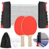 Anywhere Ping Pong 7PK Set, 2Ping Pong Paddles and Retractable Net for Any Tabletop, 3 Balls Table Tennis Set...