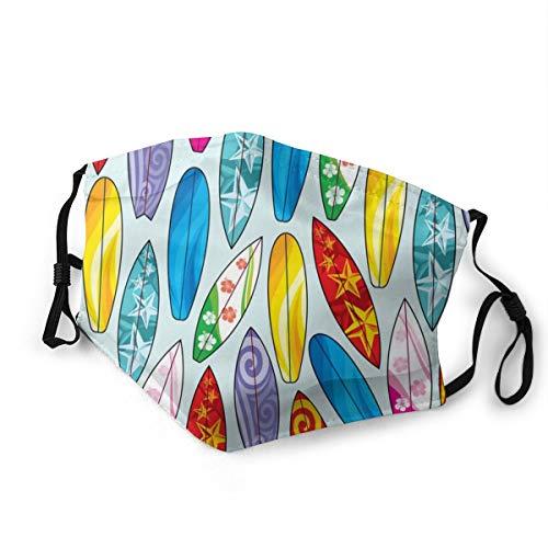 Doppelseitig bedruckter Mundschutz mit 2 Filtern, einzigartig, japanisches Surfbrett, wiederverwendbar, atmungsaktiv, Gesichtsschutz für den täglichen Gebrauch Gr. 85, Schwarz