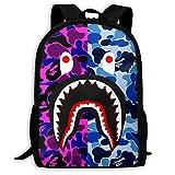 Shark Pattern Blood Backpack For Travel Laptop Daypack 3D Print Bag For Men