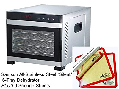"""Samson""""Silent"""" 6 Tray All Stainless Steel Dehydrator & Glass Door Digital Controls, Quiet and Convenient PLUS 3 Sillicone Sheets"""