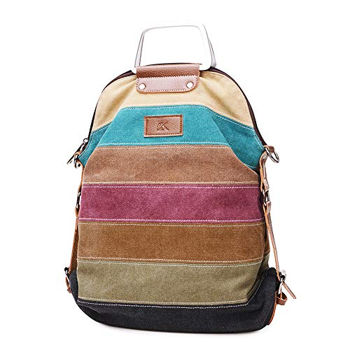 SNUG STAR Handtasche Damen,Canvas Tasche Damentasche Multi-Color-Striped Umhängetasche Damen Groß Schultasche Canvas Shopper Tasch Muttertag Geschenk Hobo Bag (B stylen)