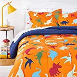 Amazon Basics Kids Easy-Wash Microfiber Bed-in-a-Bag Bedding Set - Full/Queen, Dino Friends