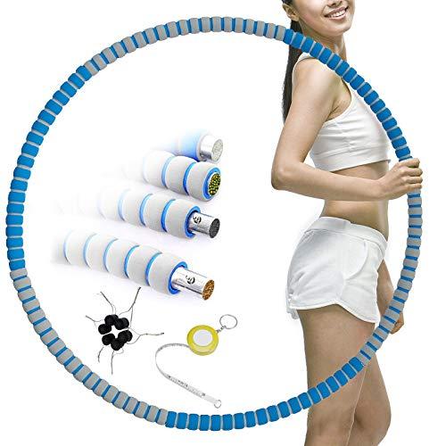 Synchain Hula Hoop Reifen Erwachsene, Fitness Rostfreier Stahl Hula Hoop zur Gewichtsabnahme mit Schaumstoff ca 1,2 bis 3,2 kg mit Mini Bandmaß,Breite verstellbar (90cm), für Erwachsene oder Kinder
