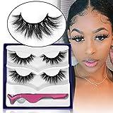SWINGINGHAIR Natural False Eyelashes, 3D Mink Lashes Wispy Mink Eyelashes Natural Look 17mm Medium Mink Eyelashes Fluffy Lashes Pack for Women, 2 Pairs Banana