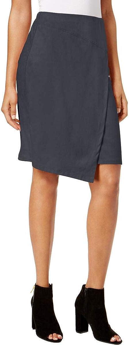 kensie Womens Asymmetrical Wrap Skirt, Grey, Small