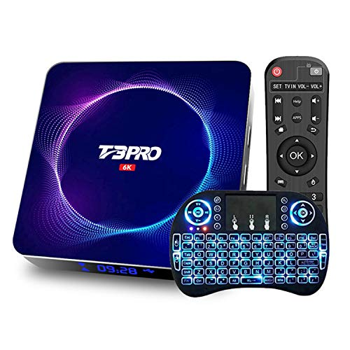 DOOK 2021 Newest Android TV Box 10.0, T3 Pro Android Box Allwinner H616 Quad-Core 64bit with Dual-WiFi 2.4G/5GHz BT 5.0,Ultra HD 6K HDR H.265 USB 3.0 TV Box with Wireless Mini Keyboard2+16G