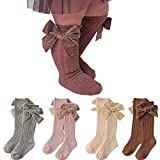 4-Pack Baby Girls Knee High Socks Infants Toddlers Bow Knit Socks Cotton Tube Ruffled Stockings (Assorted 4pk,0-12 Months)