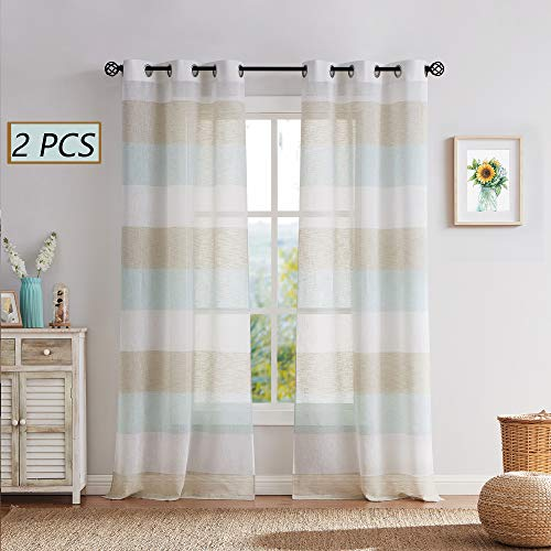 Central Park Tan and Spa Blue Stripe Sheer Color Block Window Curtain Panel Linen Window Treatment for Bedroom Living Room Farmhouse 54 inches Long with Grommets, 2 Panel Rustic Drapes