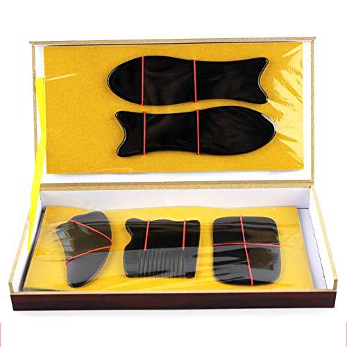 Tabla de raspado de cuerno negro Juego de raspado de cuidado de belleza de peine de cinco piezas Juego de tabla de raspado de cuerno Conjunto de cuernos de cinco piezas Herramienta de masaje de raspad