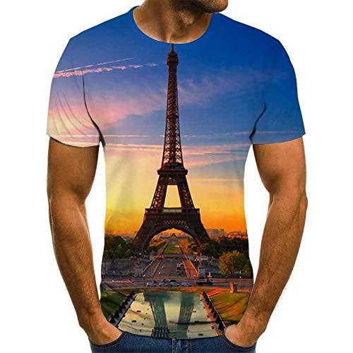 JSWBNMU T-Shirt Imprimé en 3D,Création De Mode Sunset Tower T Shirt Imprimé Pull Col Rond Manches Courtes Décontracté Grande Taille des T Shirts Tops Fashion Vêtements Couple Sauvage,4XL