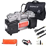 GSPSCN Portable Tire Inflator Double Cylinder Air Compressor Pump with LED Light, 12V Air Pump for Car Tires, 150 PSI Heavy-Duty Metal Tire Pump with Locking Air Chuck for Auto,SUV,RV,Truck,Balls
