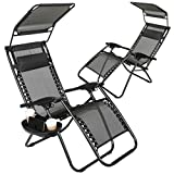 Set of 2 Zero Gravity Outdoor Lounge Chairs w/Sunshade + Cup Holder with Mobile Device Slot Adjustable Folding Patio Reclining Chairs W/Canopy+ Snack Tray (Black)