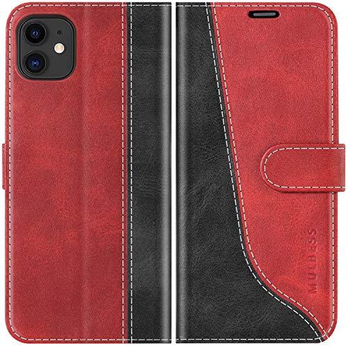 Mulbess Funda para iPhone 11, Funda con Tapa iPhone 11, Funda iPhone 11 Libro, Funda Cartera para iPhone 11 Carcasa, Vino Rojo