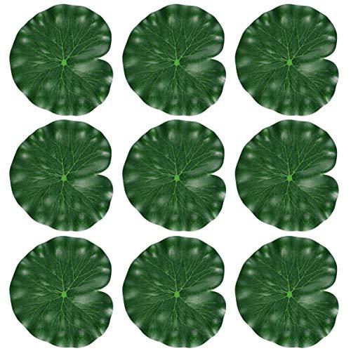 Amosfun 10 Stücke Künstliche Schwimmende Lotusblumen Blätter Realistische Seerose Pads für Hausgarten Terrasse Teich Aquarium Schwimmbad Hochzeitsfest Dekor