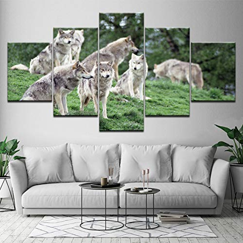 WFUBY 5 Pieces Canvas Prints Decorative Paintings Poster Canvas Painting Animals Wolves Family in Forest 5 Pieces Wall Art Painting Wallpapers Poster Print Home Decor Home Decor New Year