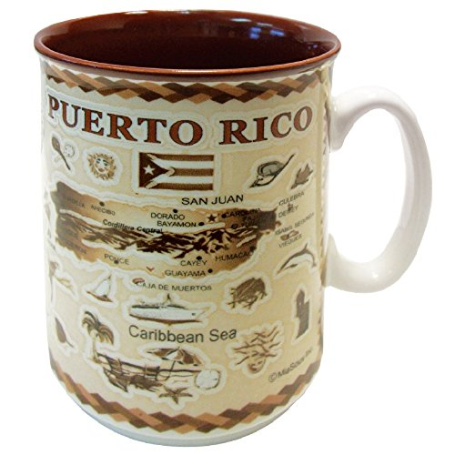 MUG Puerto Rico Souvenir and Gift Embossed Island Map 11 oz Ceramic Coffee & Tea Cup - Best Gift for Coffee Tea Lover / Addicts (Puerto Rico)