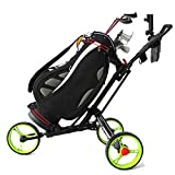 Folding Aluminum Alloy Golf Trolley Multifunctional Foldable Golf Pull Cart with Three Wheels
