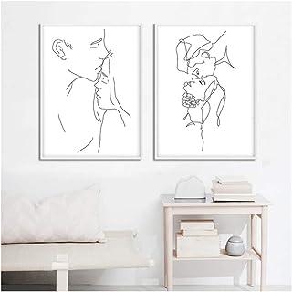 Arte de la pared Impresión en lienzo Dibujo lineal Pareja Beso Cartel abstracto Negro Blanco Pintura simple Imagen decorativa Decoración moderna para el hogar 60x80cm (23.6x31.5 pulgadas) x2 Sin marco