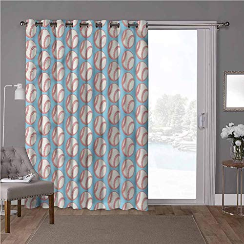 YUAZHOQI cortinas opacas para oscurecimiento de habitación, béisbol, bolas de arte en azul, 52 x 84 pulgadas de ancho x 84 pulgadas de largo cortinas opacas para dormitorio (1 panel)