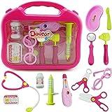 Ruby569y Juego de juguetes de simulación para niños, juego médico de juego para médicos, juego de juguetes para niños con estetoscopio - rosa sin LED #