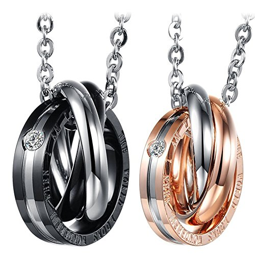 Cupimatch 2PCS Triple Rings Interlocking His& Her Matching Set Stainless Steel Couples Pendant Necklace, 18' & 20' Chain Included