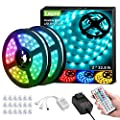 Lepro 65.6ft LED Strip Lights, Ultra-Long RGB 5050 LED Strips with Remote Controller and Fixing Clips, Color Changing Tape Light with 12V ETL Listed Adapter for Bedroom, Room, Kitchen, Bar(32.8FTX 2)