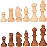 Wooden Chess Pieces only,No board. A complete set of high quality wood chess pieces (32 pieces total) King height: 3.5inches , King base diameter: 1.3 in, King weight: 1 ounce, Pawn height: 1.65 in, Pawn base diameter: 1 in, Pawn weight: 0.4 oz (plea...