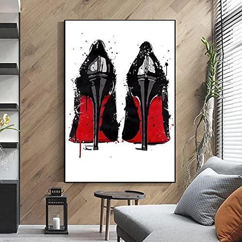 Zwart en Rood Hoge Hakken Canvas Schilderij Luxe Hoge Hakken Posters Prints Wall Art Foto 'S voor Woonkamer Decor…