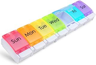 XYGK Pastillero, Organizador de medicamento por 7 días con pulsador & grandes compartimentos, Pastillero semanal en casa/d...