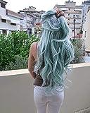 Peluca larga de pelo para mujer fibra resistente al calor, para arrastre Queen Wavy, raíces oscuras, Ombre, pastel, azul sintético, encaje frontal, pelucas naturales pelo hecho a mano, 55,88 cm