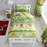 Happy Linen Company Kids Boys Girls Farm Animals Counting Sheep Green Yellow Reversible Toddler Cot Bed Bedding Duvet Cover Set