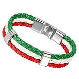 Flongo Bracelet Cuir Drapeau Emblème National Italie Italien Coupe du Monde Alliage Couleur Rouge Jaune Fantaisie pour Homme Femme