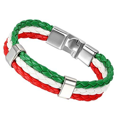 Flongo Metalllegierung Legierung Leder Armband Armreifen Manschette Silber Grün Weiss Rot Italien Italienische Flagge Geflochten Gotik Motorradfahrer Biker Herren