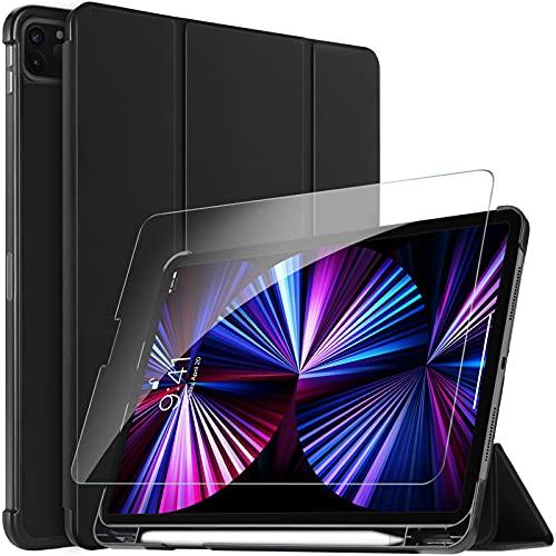 ELTD Kompatibel mit iPad Pro 11 2021 Panzerglas, PU Leder Hülle mit Glas Displaysfolie Kompatibel iPad Pro 11 Zoll 2020/2021 (Schwarz)