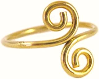 California Toe Rings Women's 14K Gold Filled Double Swirl Midi Above The Knuckle Adjustable Toe Ring One Size Fits All Most