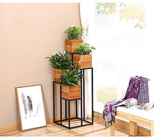 QFF Style américain Rétro Plancher Fleur Escaliers Escaliers Pot de fleurs Terrasse Terrasse Salon Bois massif Restaurant Duo vert Restaurant Écran Étagère à fleurs