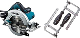 Makita HS7601J 190 mm Circular Saw with MakPac Carry Case & 194385-5 Clamp Set for SP6000 Plunge Saw (Pair), Silver