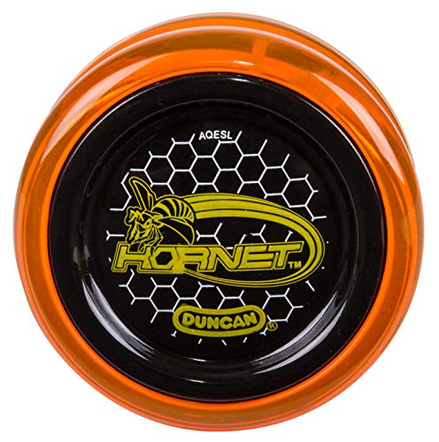 Duncan Toys Hornet Pro Looping Yo-Yo with String, Ball Bearing Axle and Plastic Body, Orange with Black Cap