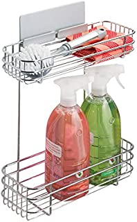 mDesign AFFIXX Estantes de Cocina para lavavajillas, estropajos, etc. – Estantería metálica de Pared autoadhesiva con Dos Alturas – Balda para Cocina sin Taladro – Color: Plateado