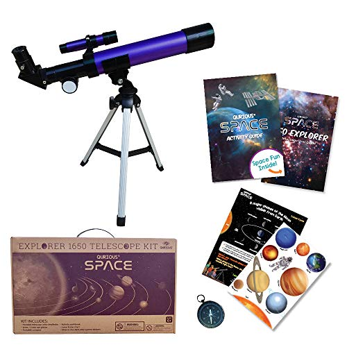 Qurious Space Kid's Explorer Telescope Gift Kit w Eco Case 1650 | Children & Astronomy Beginners | Moon Travel Telescope | Tabletop Tripod | Compass | Glow-in-The-Dark Stickers | Science Education