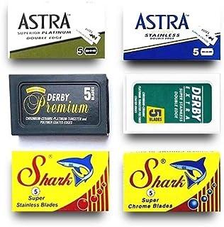 30 rakblad för rakhål, Astra-derby-haj, rakbladsset, 6 olika bladtyper