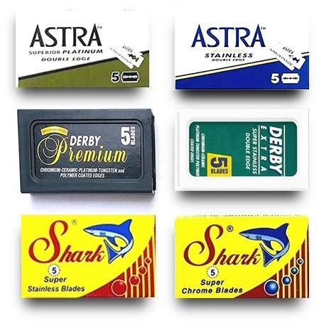 30 Rasierklingen für Rasierhobel, Astra-Derby-Shark, Rasierklingen Set, 6 verschiedene Klingentypen